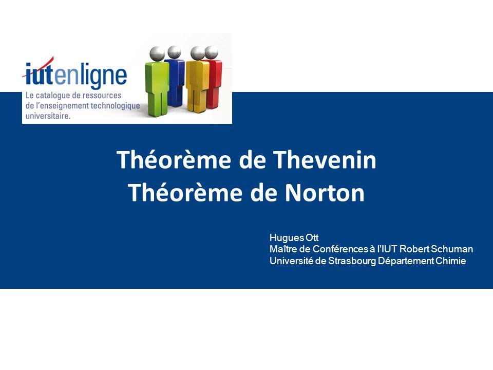 Théorème de Thevenin Théorème de Norton