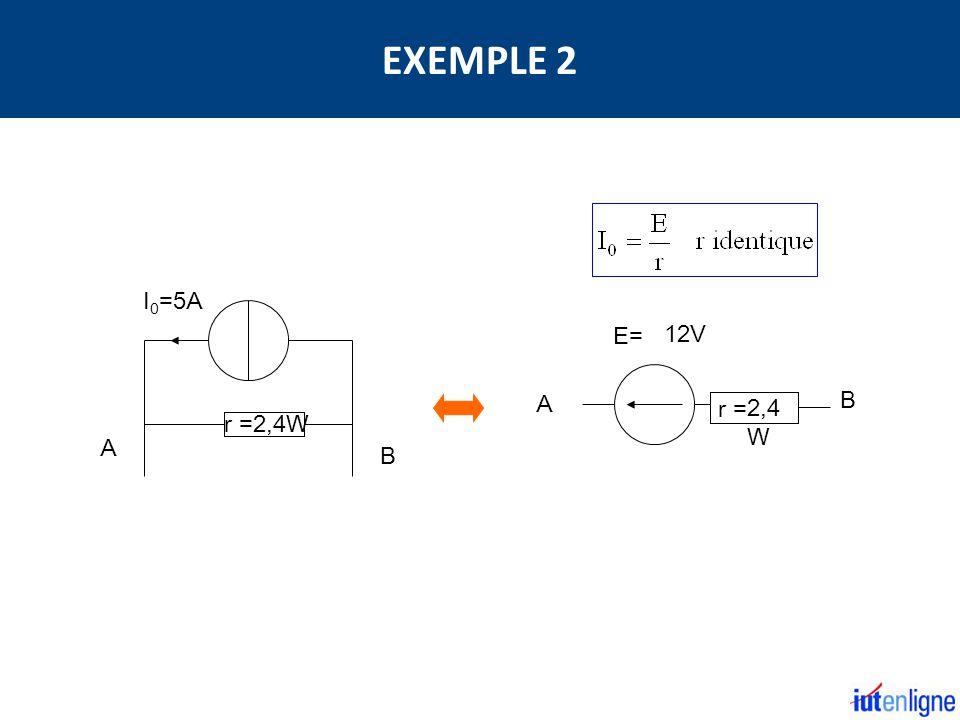 EXEMPLE 2 I0=5A B A E= 12V A B r = 2,4W r =2,4W