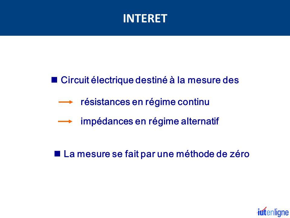 INTERET Circuit électrique destiné à la mesure des