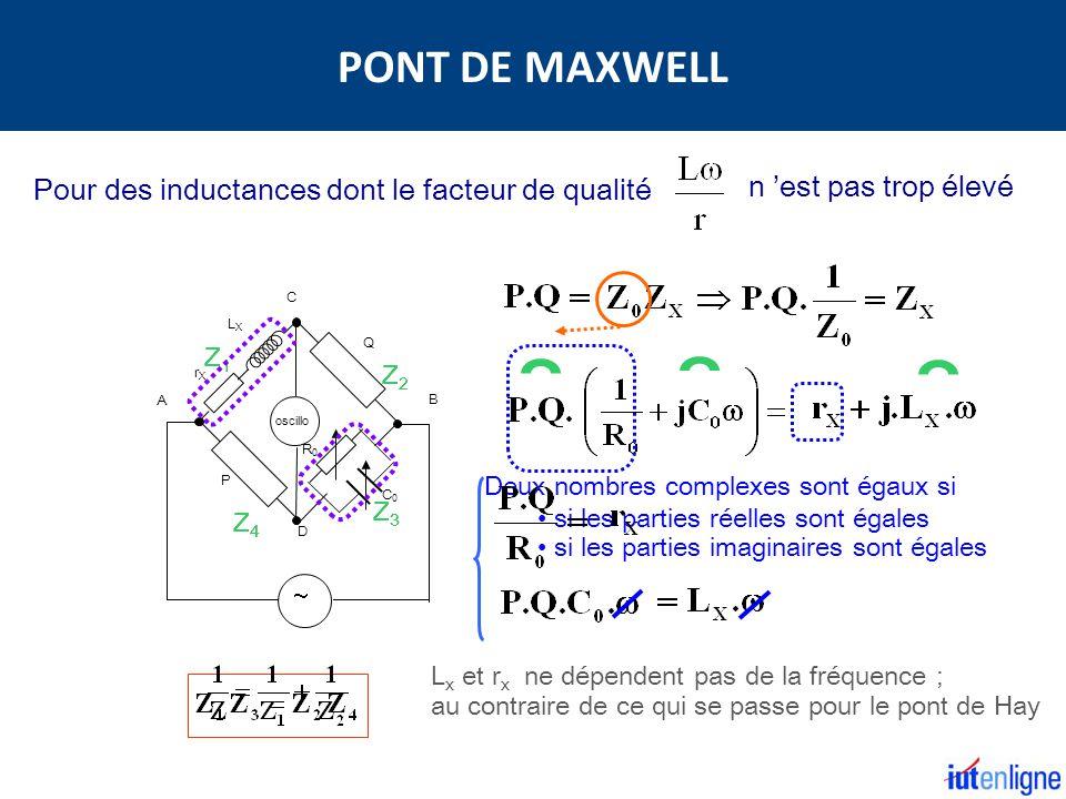 PONT DE MAXWELL Pour des inductances dont le facteur de qualité