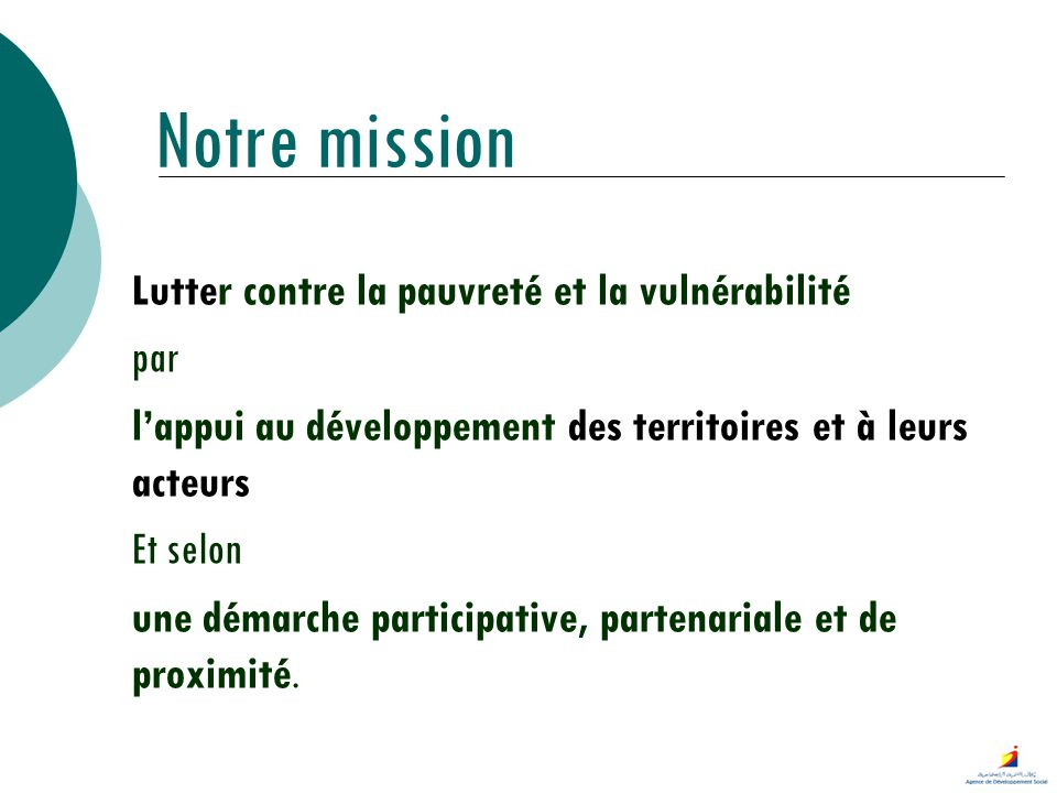Notre mission Lutter contre la pauvreté et la vulnérabilité par