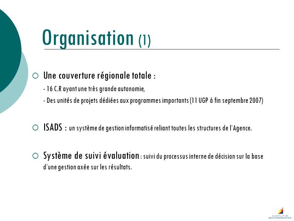 Organisation (1) Une couverture régionale totale :
