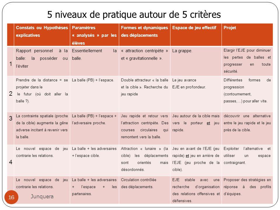 5 niveaux de pratique autour de 5 critères