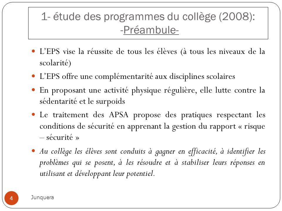 1- étude des programmes du collège (2008): -Préambule-