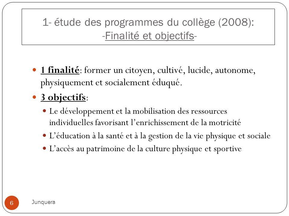 1- étude des programmes du collège (2008): -Finalité et objectifs-
