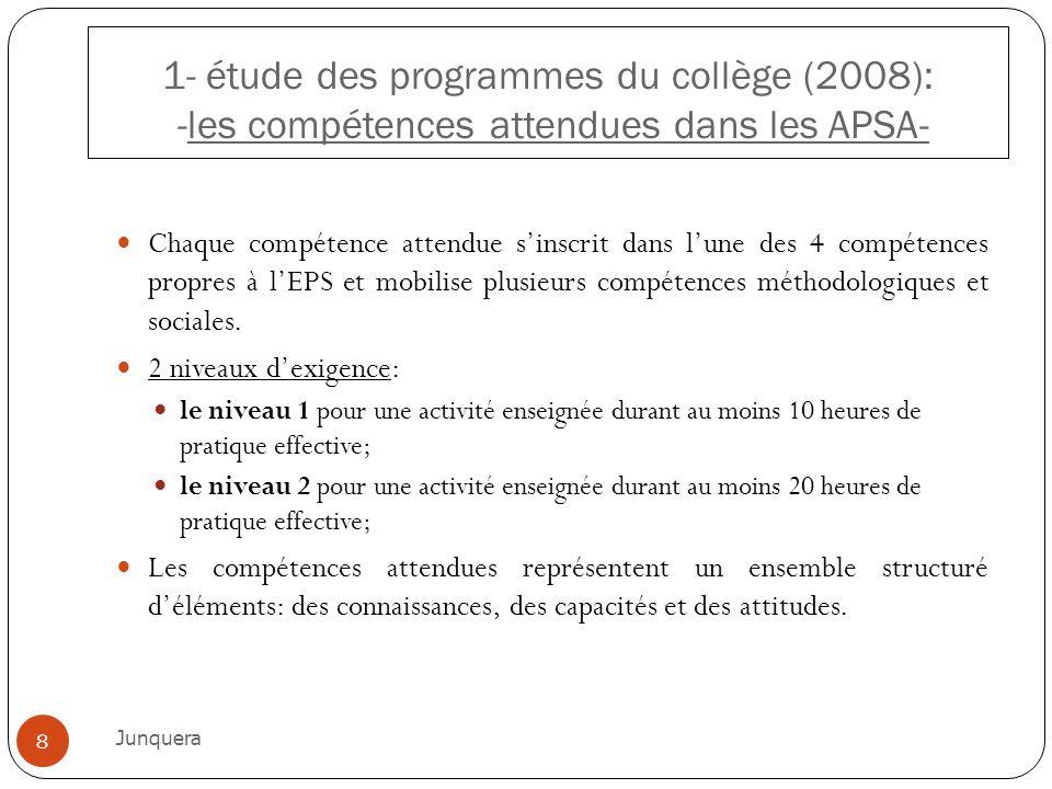 1- étude des programmes du collège (2008): -les compétences attendues dans les APSA-