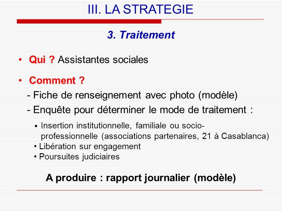 A produire : rapport journalier (modèle)