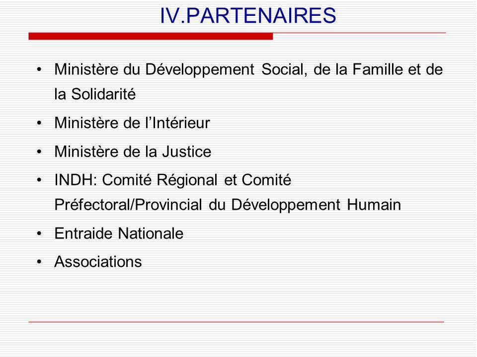 IV.PARTENAIRES Ministère du Développement Social, de la Famille et de la Solidarité. Ministère de l'Intérieur.