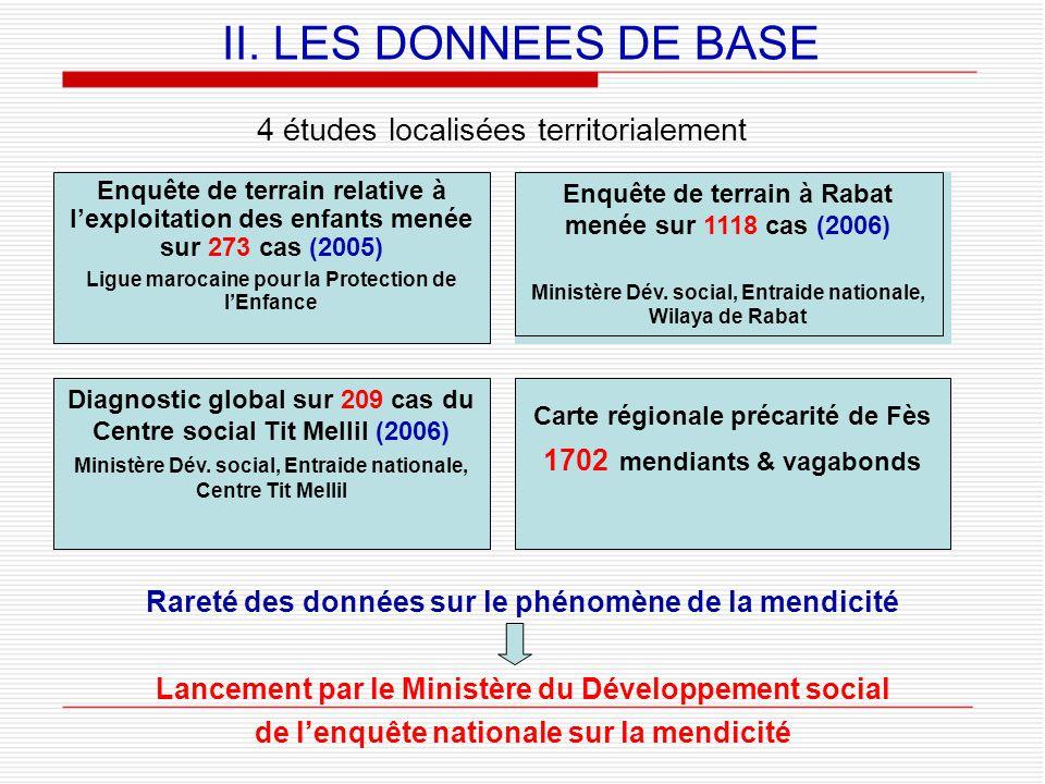 II. LES DONNEES DE BASE 4 études localisées territorialement