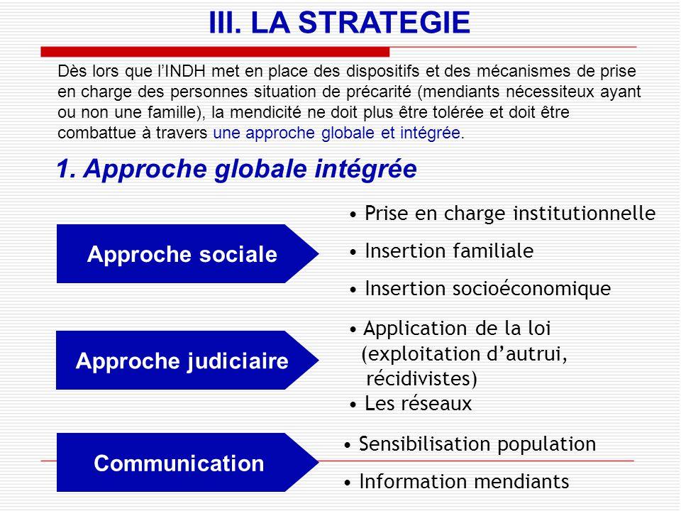 III. LA STRATEGIE 1. Approche globale intégrée Approche sociale