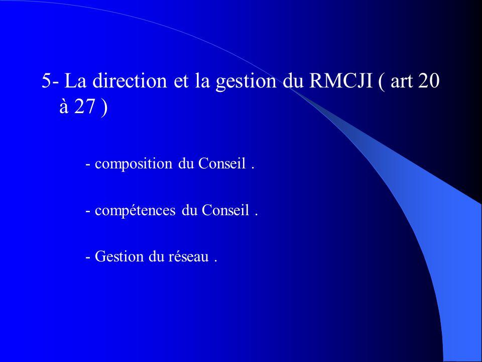 5- La direction et la gestion du RMCJI ( art 20 à 27 )