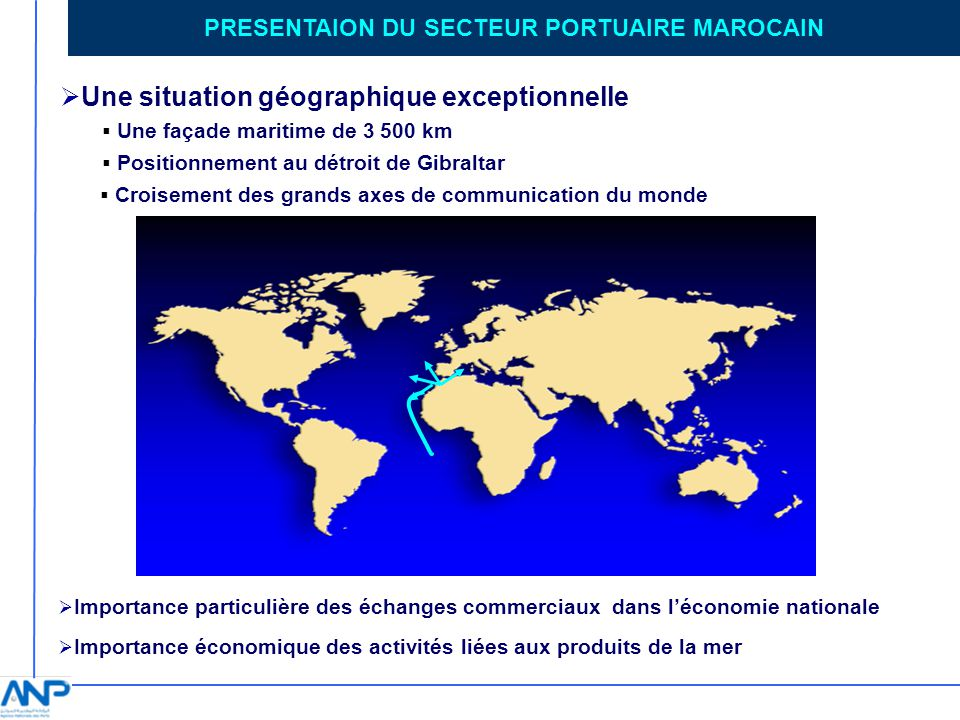 PRESENTAION DU SECTEUR PORTUAIRE MAROCAIN