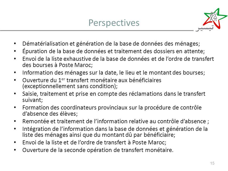 Perspectives Dématérialisation et génération de la base de données des ménages;