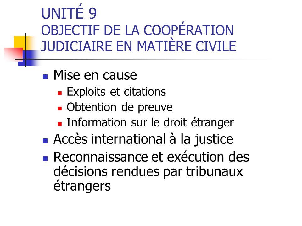 UNITÉ 9 OBJECTIF DE LA COOPÉRATION JUDICIAIRE EN MATIÈRE CIVILE