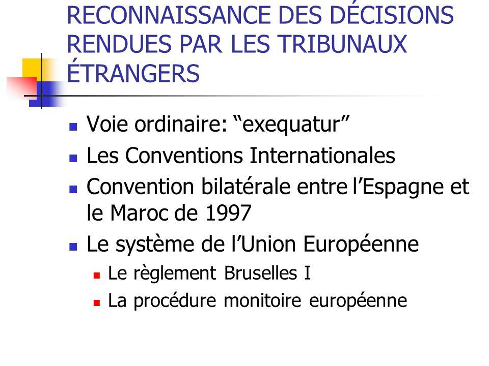 RECONNAISSANCE DES DÉCISIONS RENDUES PAR LES TRIBUNAUX ÉTRANGERS