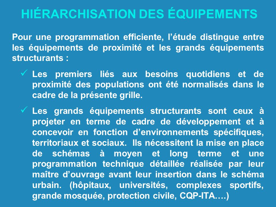 HIÉRARCHISATION DES ÉQUIPEMENTS