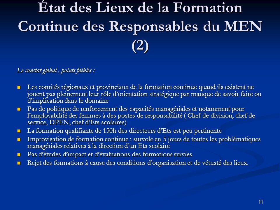 État des Lieux de la Formation Continue des Responsables du MEN (2)