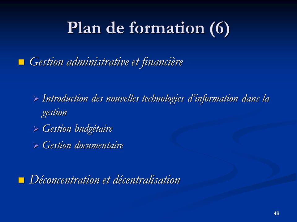 Plan de formation (6) Gestion administrative et financière