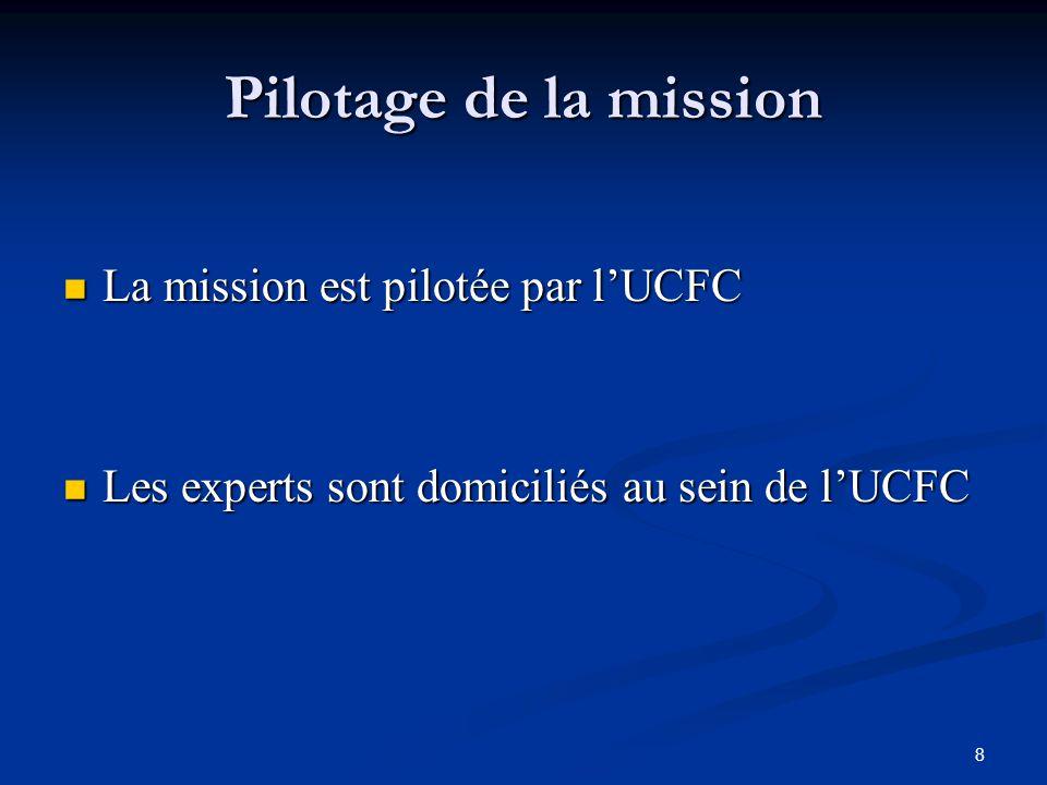 Pilotage de la mission La mission est pilotée par l'UCFC