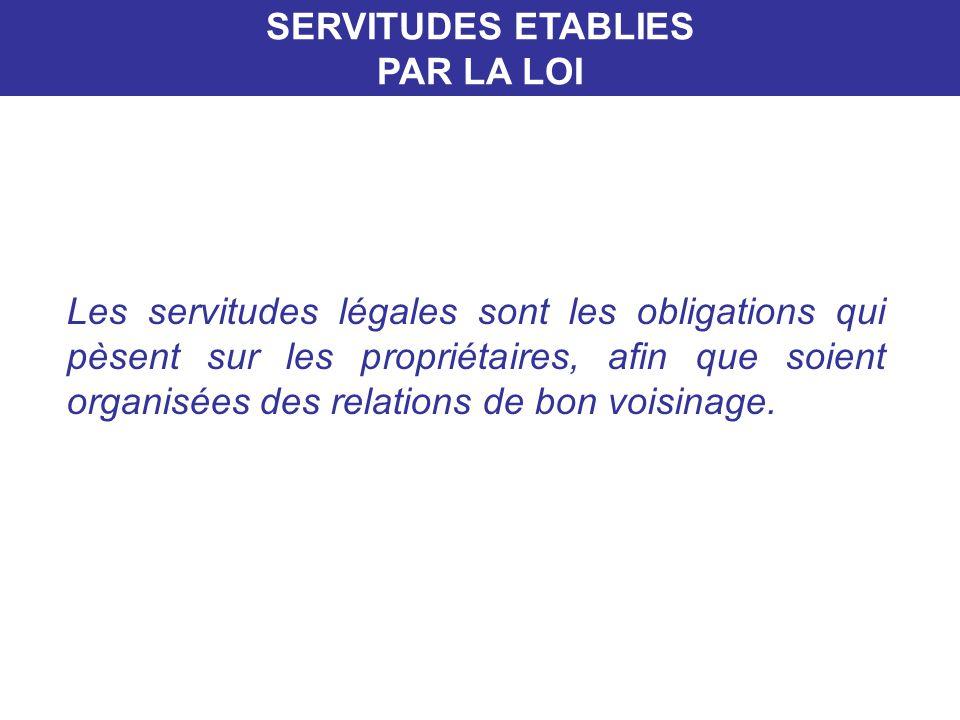 SERVITUDES ETABLIES PAR LA LOI.
