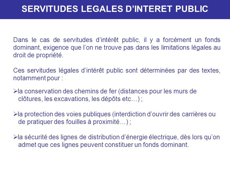 SERVITUDES LEGALES D'INTERET PUBLIC