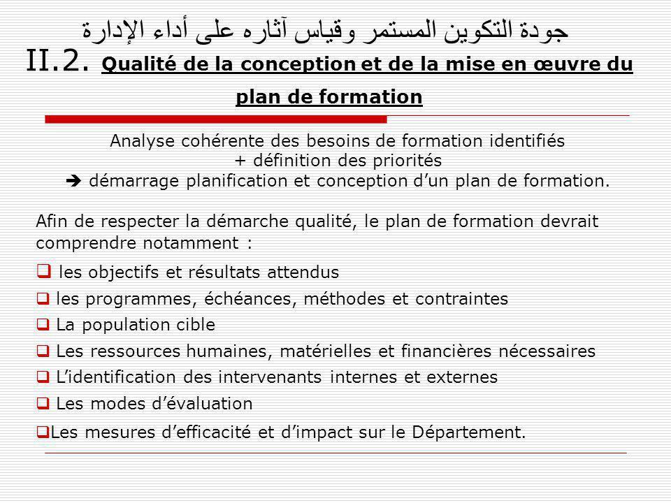جودة التكوين المستمر وقياس آثاره على أداء الإدارة II. 2