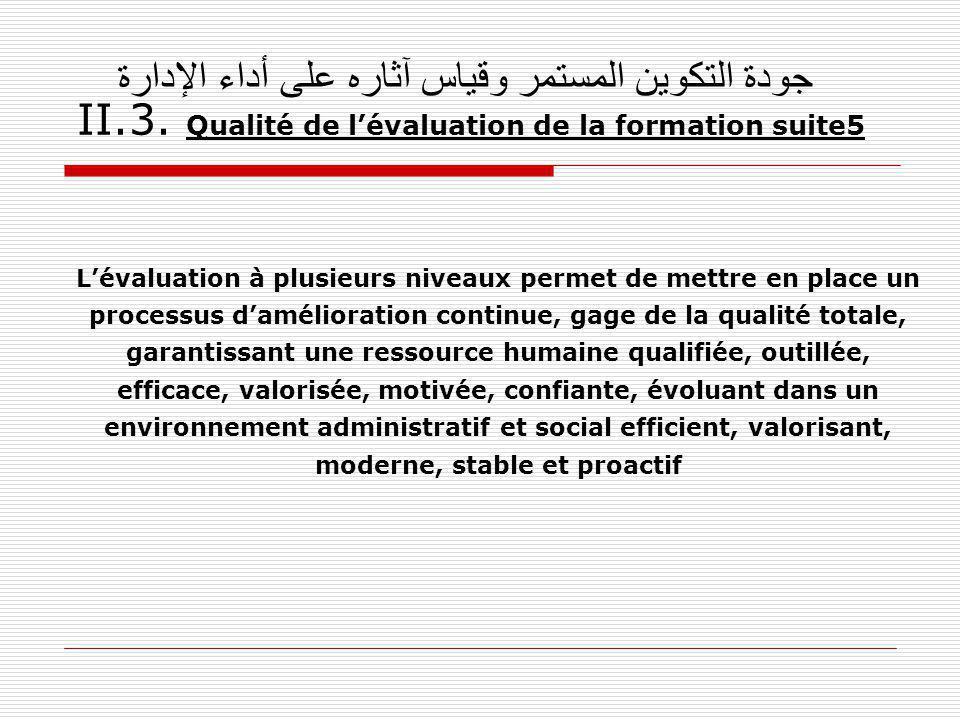 جودة التكوين المستمر وقياس آثاره على أداء الإدارة II. 3