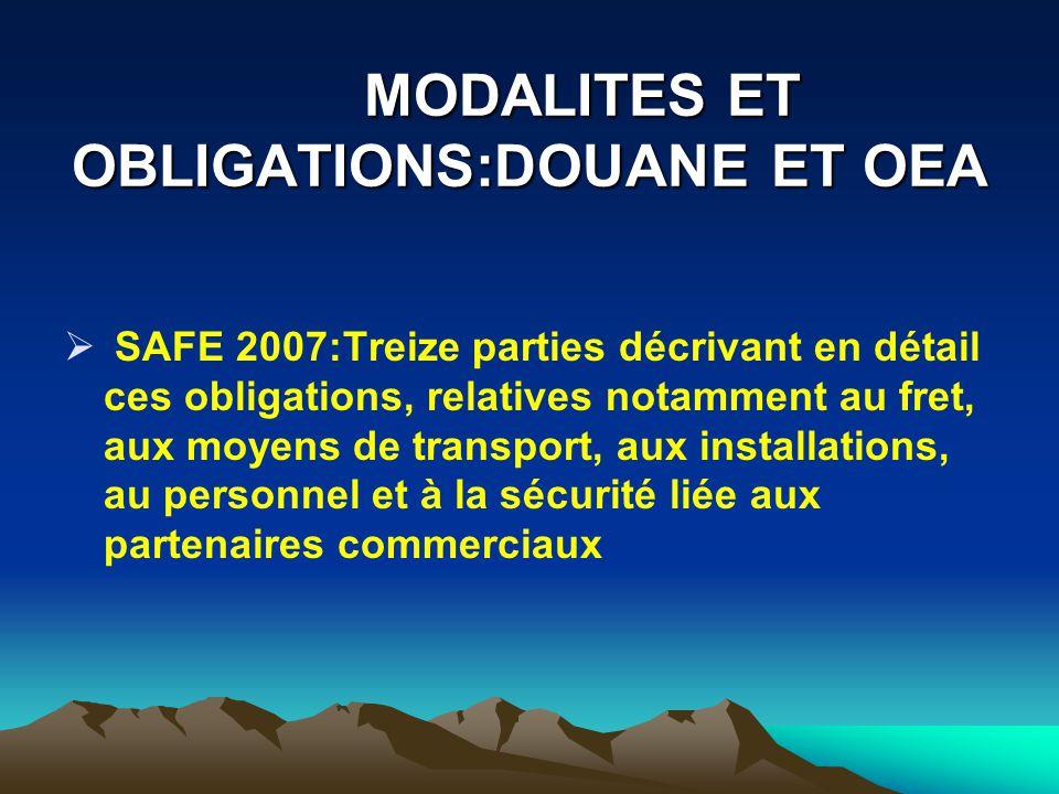 MODALITES ET OBLIGATIONS:DOUANE ET OEA
