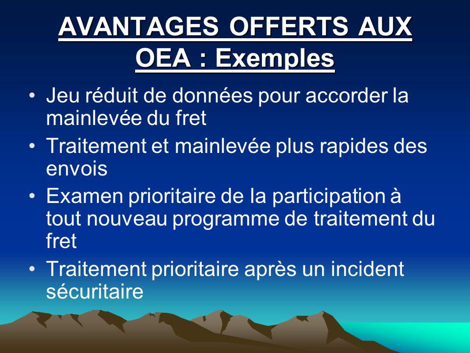 AVANTAGES OFFERTS AUX OEA : Exemples
