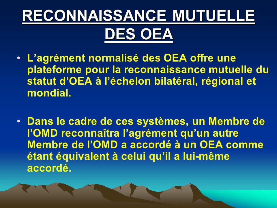 RECONNAISSANCE MUTUELLE DES OEA