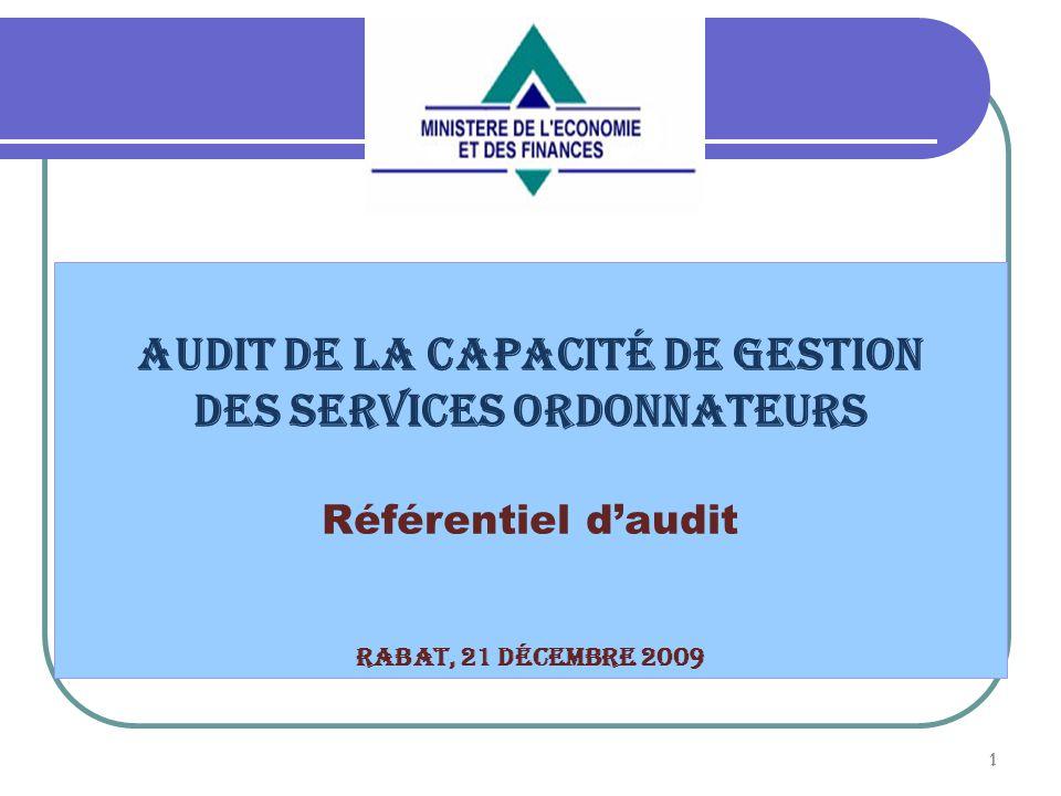 Audit de la capacité de gestion des services ordonnateurs