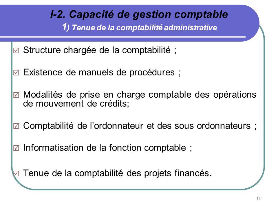 I-2. Capacité de gestion comptable 1) Tenue de la comptabilité administrative