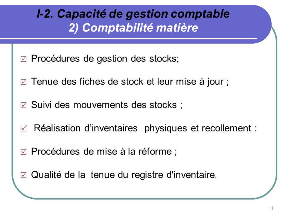 I-2. Capacité de gestion comptable 2) Comptabilité matière