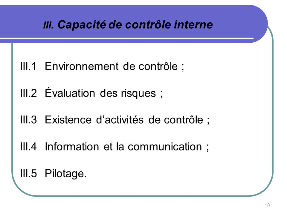 III. Capacité de contrôle interne