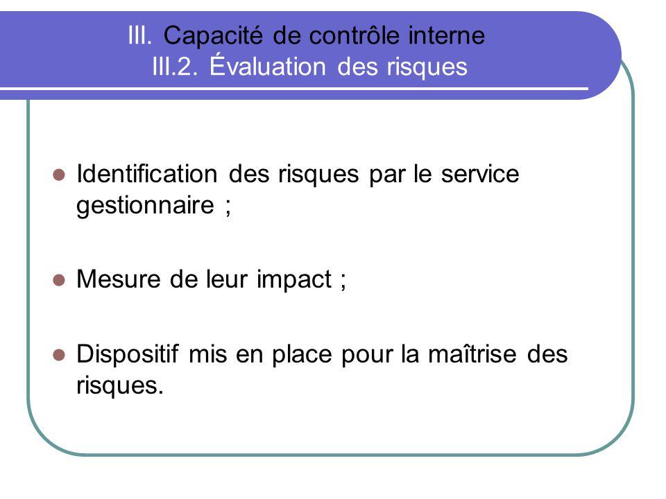 III. Capacité de contrôle interne III.2. Évaluation des risques