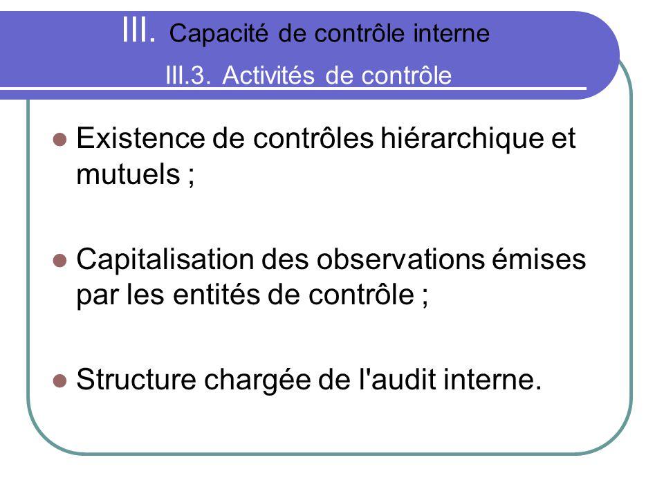 III. Capacité de contrôle interne III.3. Activités de contrôle