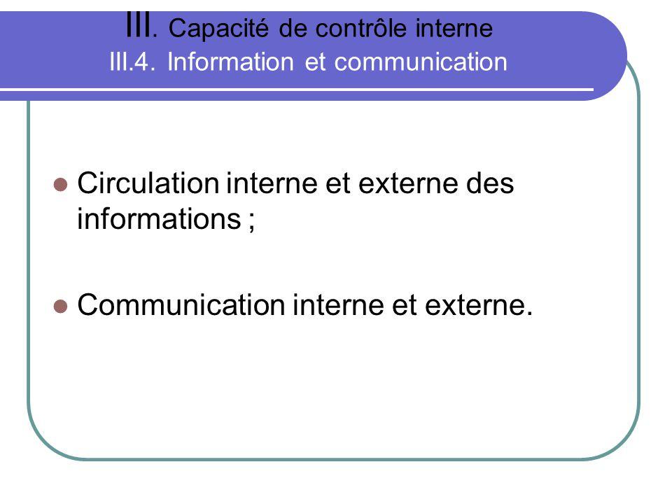 III. Capacité de contrôle interne III.4. Information et communication