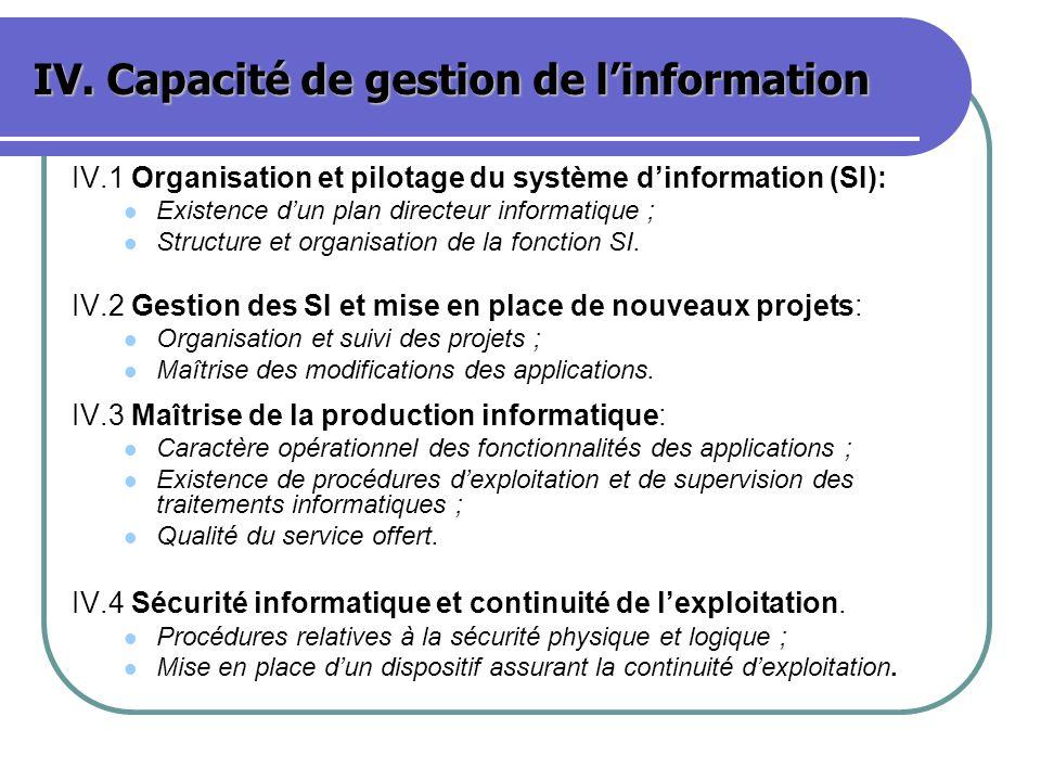 IV. Capacité de gestion de l'information