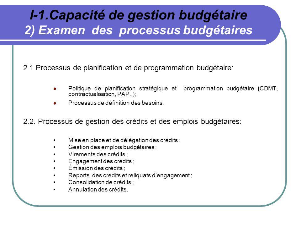 I-1.Capacité de gestion budgétaire 2) Examen des processus budgétaires