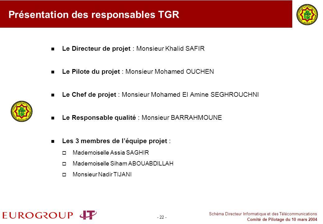 Présentation des responsables TGR