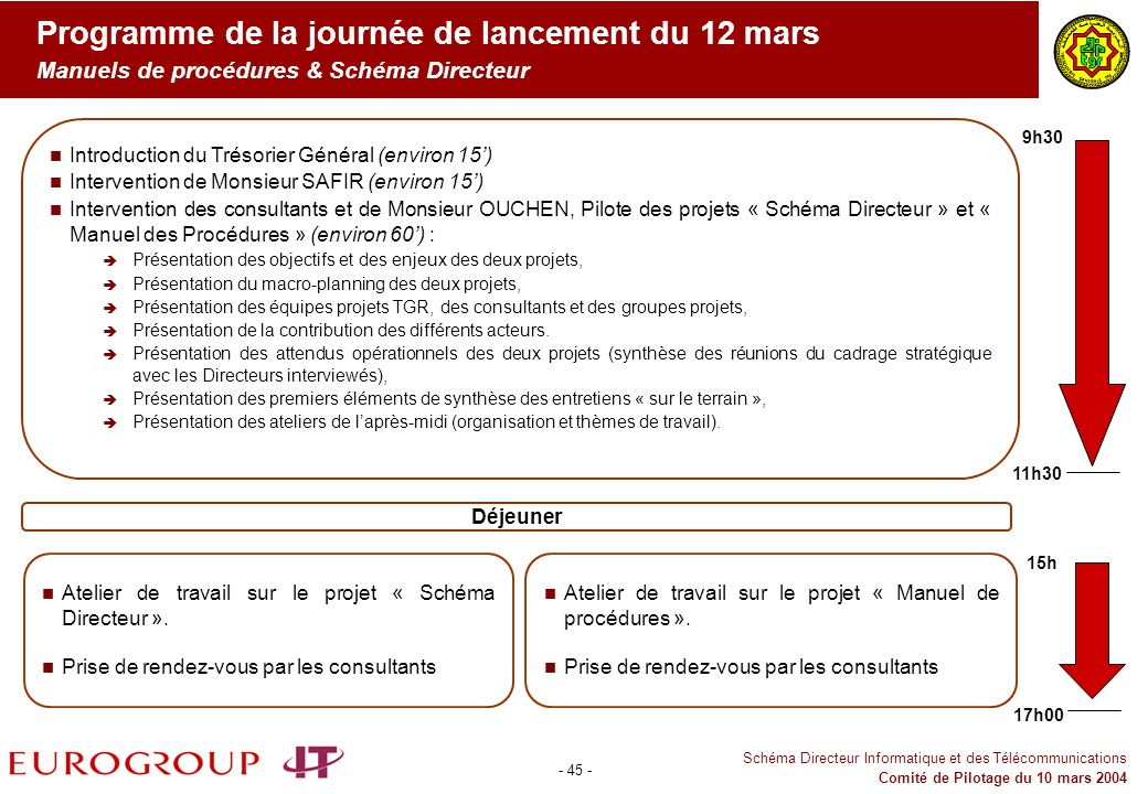 Programme de la journée de lancement du 12 mars Manuels de procédures & Schéma Directeur