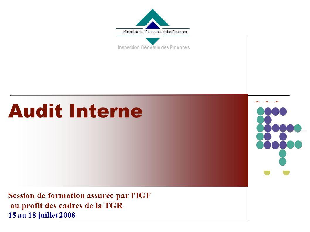 Audit Interne Session de formation assurée par l IGF au profit des cadres de la TGR 15 au 18 juillet 2008