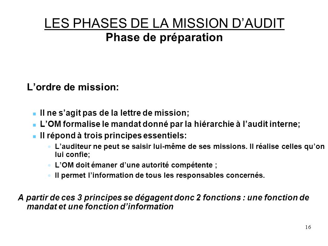 LES PHASES DE LA MISSION D'AUDIT Phase de préparation