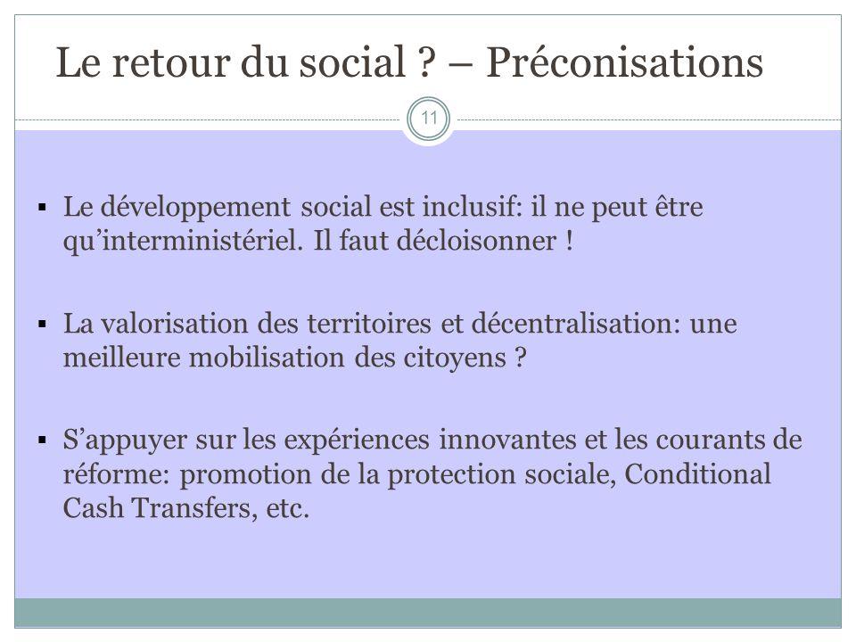 Le retour du social – Préconisations