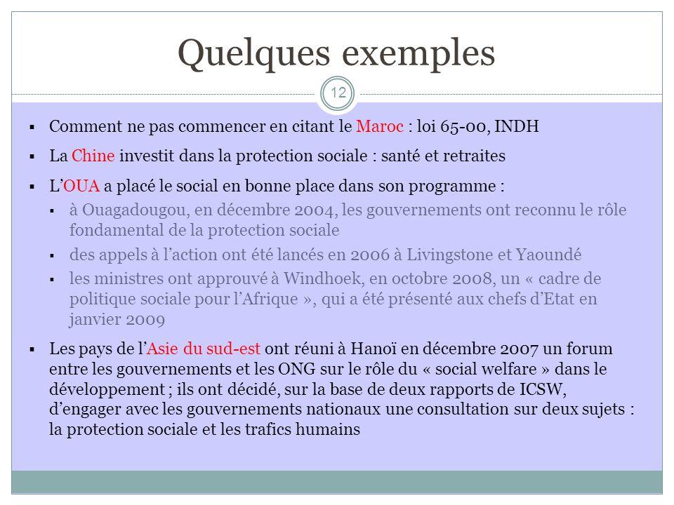 Quelques exemples Comment ne pas commencer en citant le Maroc : loi 65-00, INDH. La Chine investit dans la protection sociale : santé et retraites.