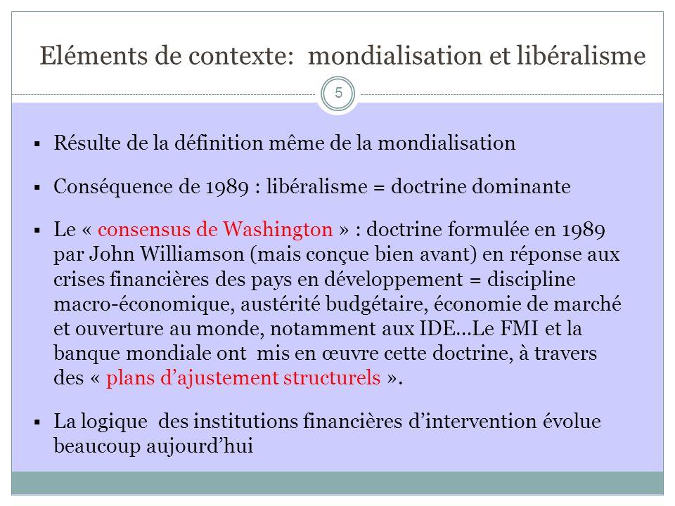 Eléments de contexte: mondialisation et libéralisme