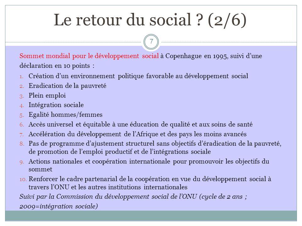 Le retour du social (2/6) Sommet mondial pour le développement social à Copenhague en 1995, suivi d'une.