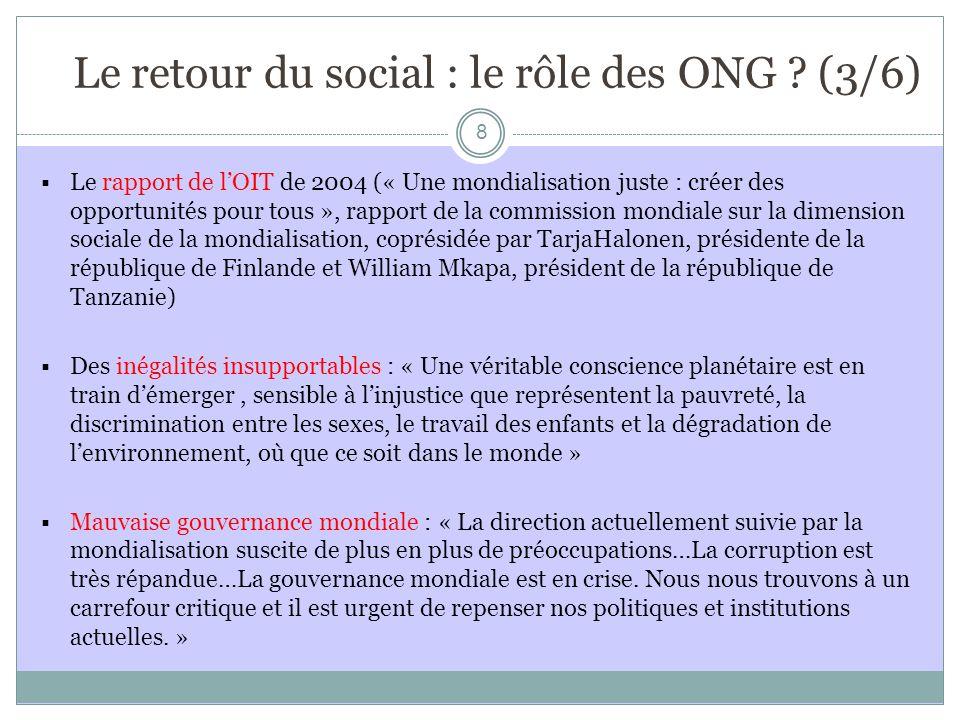 Le retour du social : le rôle des ONG (3/6)
