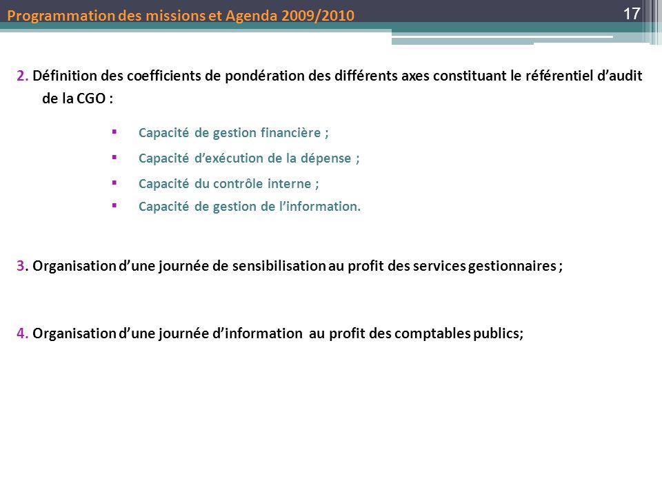 Programmation des missions et Agenda 2009/2010