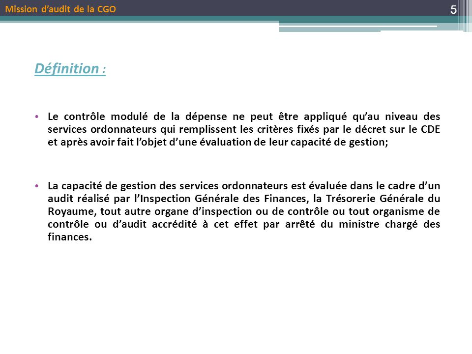 Mission d'audit de la CGO
